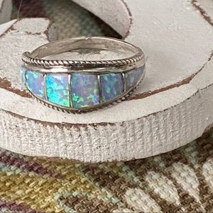 M. Lalio Zuni Opal 925 Sterling Silver Ring 7.75